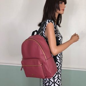 New Coach Leather Charles Backpack Rouge Pink